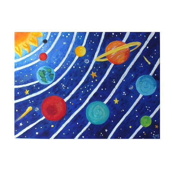 Искусство для детей, СОЛНЕЧНАЯ СИСТЕМА No.3, 16x12 акрил холст картины, космические тематические детские декора стен искусство