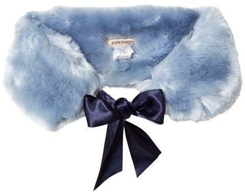 Hucklebones Powder Blue Faux Fur Stole with Satin Ribbon