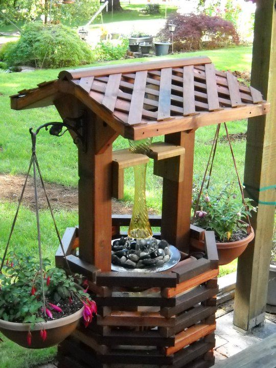 How to build a wishing well fountain woodworking for Landscape timber projects free plans
