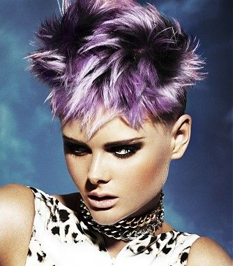 A short silver straight coloured multi-tonal spikey purple womens hairstyle by Joey Scandizzo visit www.ukhairdressers.com for #hairstyles and #hair advice