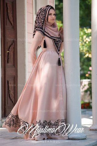 Muslima Wear 2015. Poudre Cardigan Dress with silk floral embroidery volant, the last one.