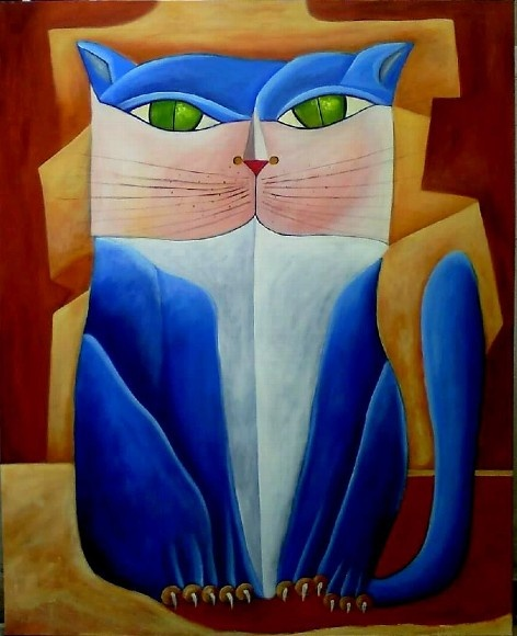 ALDEMIR MARTINS blue cat gato azul
