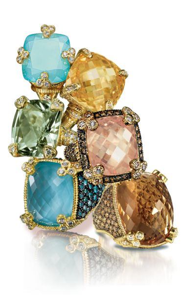 Judith Ripka. jewelry collection! 18K gold and sterling silver, canary crystal and diamond ring.