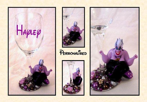 Ursula Disney Inspired Glitter and Pearl Wine Glass