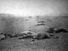 Battle of Gettysburg ends July 3rd 1863  On the third day of battle, July 3, fighting resumed on Culp's Hill, and cavalry battles raged to the east and south, but the main event was a dramatic infantry assault by 12,500 Confederates against the center of the Union line on Cemetery Ridge, known as Pickett's Charge.  Lee led his army on a torturous retreat back to Virginia. Between 46,000 and 51,000 soldiers from both armies were casualties in the three-day battle.