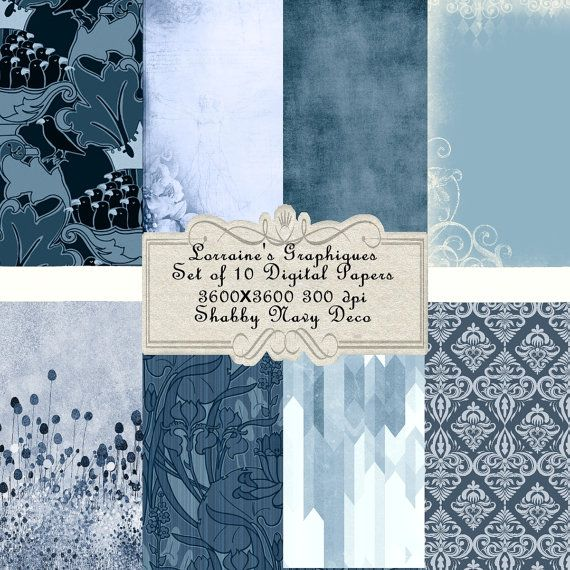 Shabby Navy Deco:  A Blue Inspired Digital Paper Background Set