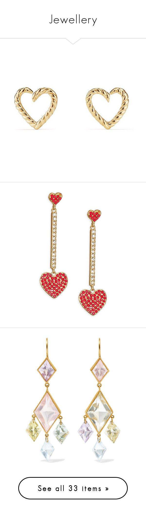 """""""Jewellery"""" by adeasahiti ❤ liked on Polyvore featuring jewelry, earrings, gold, 18 karat gold earrings, heart shaped earrings, yellow gold earrings, earring jewelry, heart jewellery, red earrings and 14 karat gold earrings"""