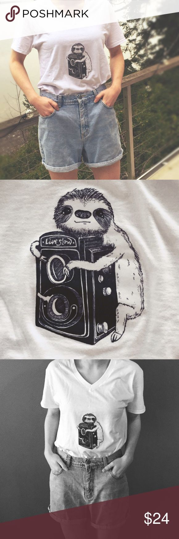 Handmade Retro Sloth Tee Live slow. Baby sloth wrapped around vintage camera have been hand drawn (by me) and heat transferred cacti upon a brand spankin new Fruit of the Loom men's tee (new, but came without tags). To wash: turn inside out, wash in cold water without bleach, and lay flat to dry. Bundle and save! Tops Tees - Short Sleeve