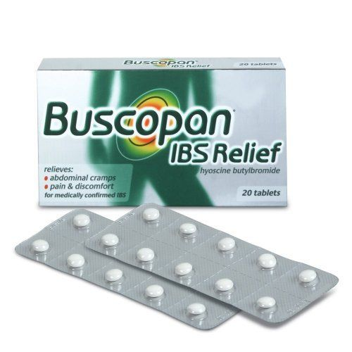 Buscopan Ibs Relief Hyoscine Butylbromide 20 Tablets by Buscopan. $36.67. Relieves:Abdominal Cramps.Pain & Discomfort.For Medically Confirmed Ibs.Buscopan Ibs Relief Relieves Abdominal Cramps Which Cause Pain And Discomfort In Irritable Bowel Syndrome (Ibs). It Works By An Antispasmodic Effect, Relaxing The Cramping Muscle Of Your Bowel.