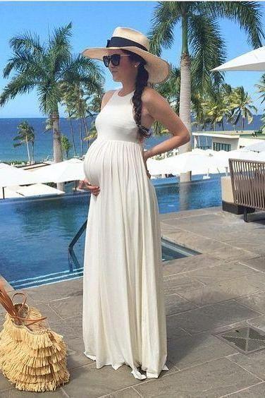 White Pregnant Evening Dresses, Chiffon Maternity Prom Dresses, Elegant…