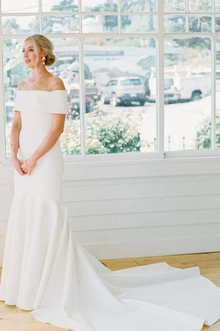 2ed6edf036b0 Elegant Mermaid Wedding Dress with Wrapped Off-the-shoulder, Mermaid Satin  Long Wedding