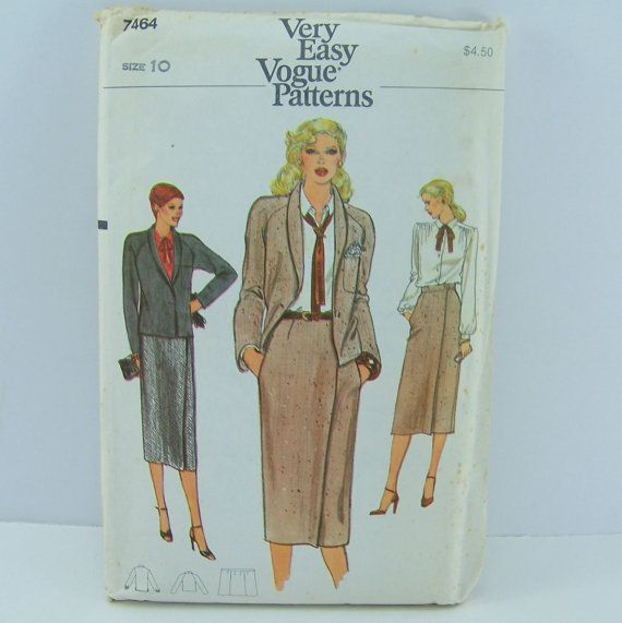 Vogue Fashion Pattern 7464 Misses Jacket by SewingPatternsPast, $9.50