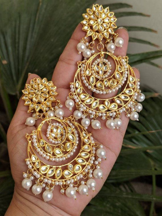 6f94f210828 Indian jewelry traditional jewelry high quality gold plated Kundan earrings  lined with fine pearls