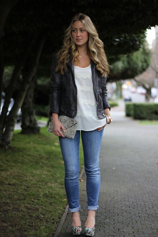 fine skinny jeans night out outfit