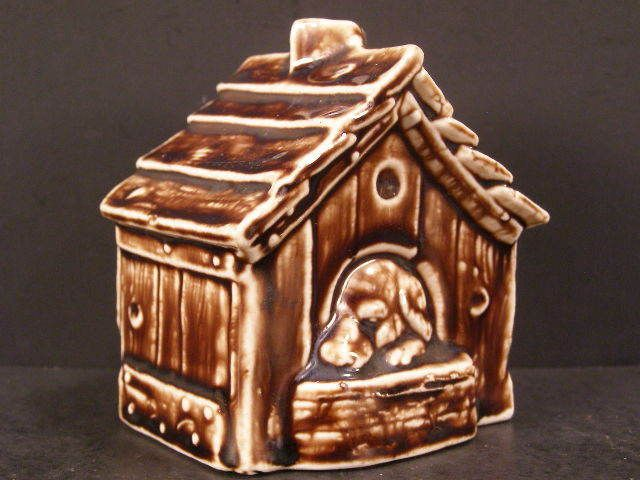 1800's Antique German Porcelain Hound Dog House Coin Penny Piggy Still Dime Bank