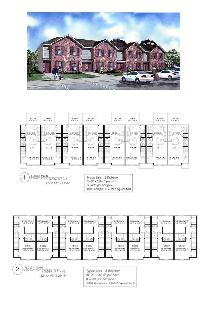 28 best duplex multiplex plans images on pinterest for Multi family house plans apartment