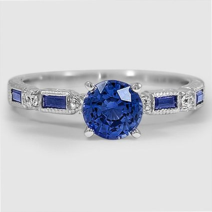 18K White Gold Vintage Sapphire Diamond Ring // Set with a 6mm Round Blue Sapphire #BrilliantEarth
