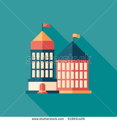 Administrative building flat square icon with long shadows. #buildingicon #flaticons #vectoricons #flatdesign