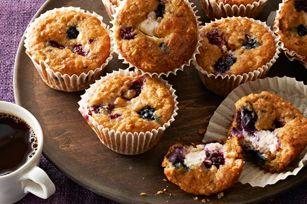 Wild Berry-Oatmeal Cheesecake Muffins