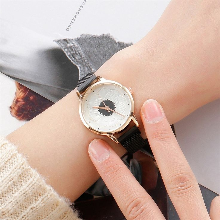 Fashion Women Watch 3D Flower Milan Magnetic Mesh Quartz Watch Ladies Girls Clock Gift montre femme reloj mujer relogio