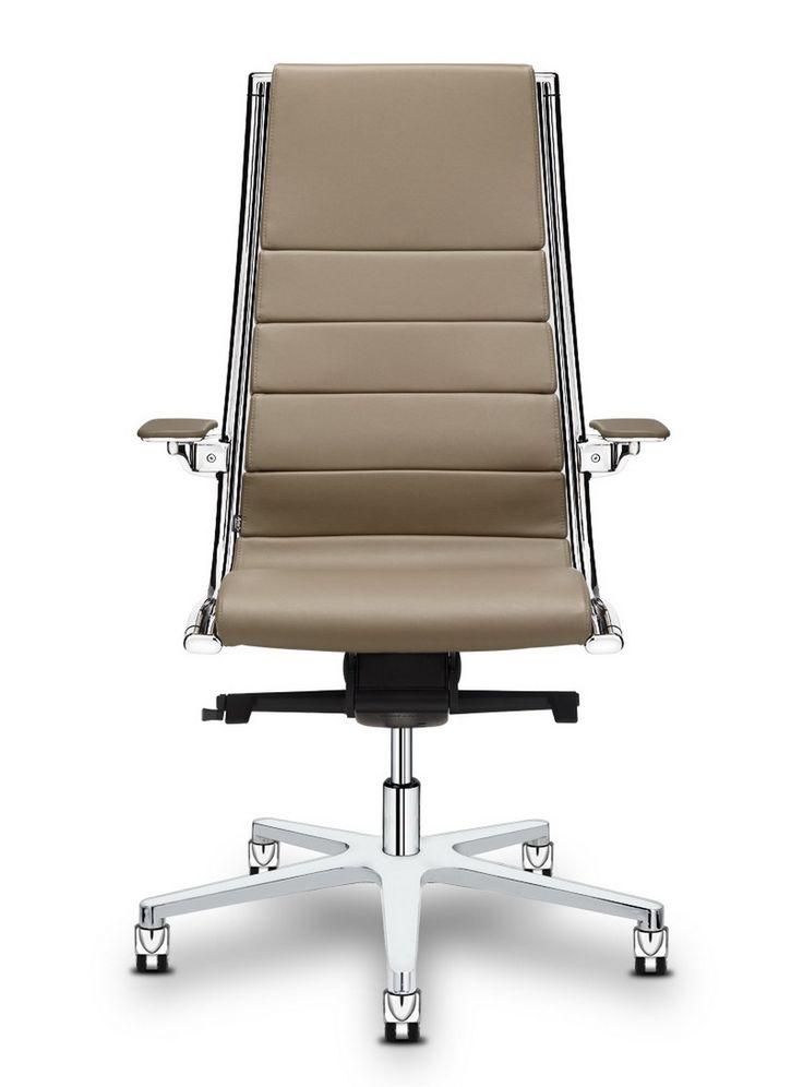 SIT IT - luxuní kancelářské křeslo s koženým čalouněním a kovy ve vysokém lesku