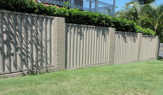 brick and colourbond fence
