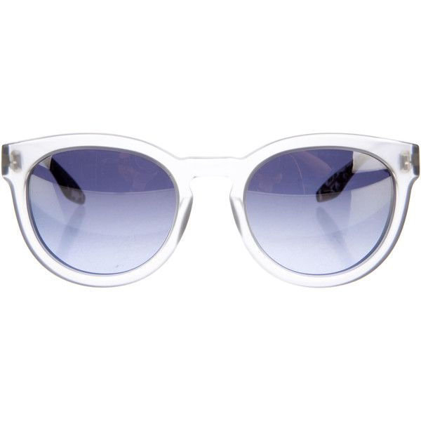Pre-owned Barton Perreira Neneh Reflective Sunglasses ($125) ❤ liked on Polyvore featuring accessories, eyewear, sunglasses, pattern prints, clear lens glasses, barton perreira, lens glasses, clear glasses and marble glasses