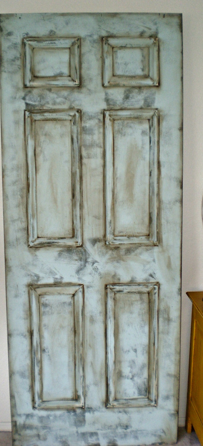 door leaning hand painted 6 panel blue green grey distressed 100. Black Bedroom Furniture Sets. Home Design Ideas