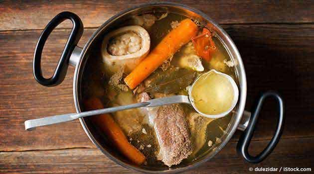 Bone Broth Recipe Soups with beef marrow, meat bones, apple cider vinegar, water, celery ribs, carrots, onions, fresh parsley, sea salt