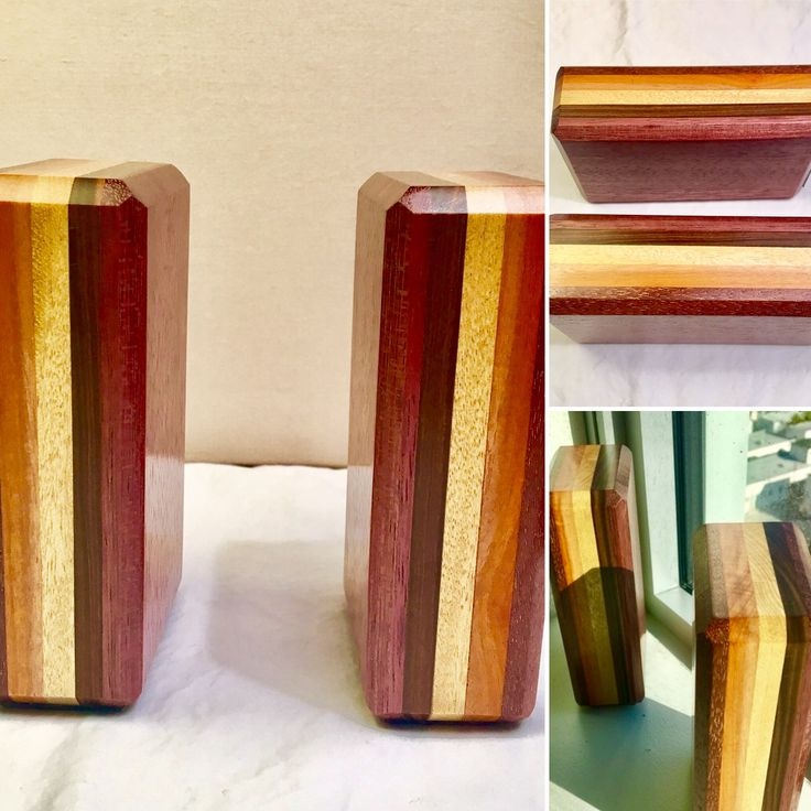 Bookends made for a client. Jatoba (Brazilian Cherry), Chakte viga, yellow heart, lignum vitae, and purple heart