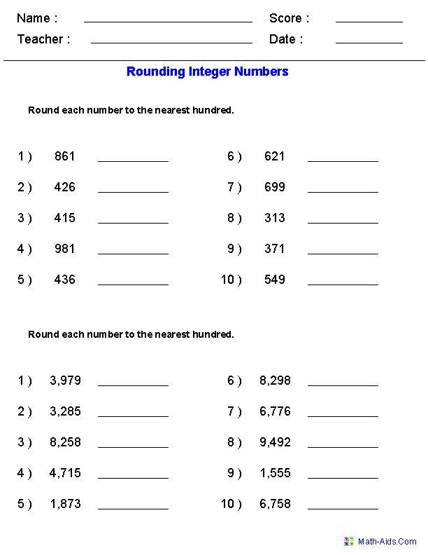 Rounding Worksheets for Integers ;) Rounding worksheets