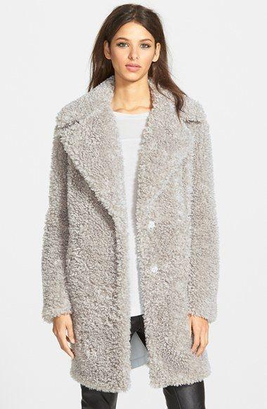Women's Kensie 'Teddy Bear' Notch Collar Faux Fur Coat