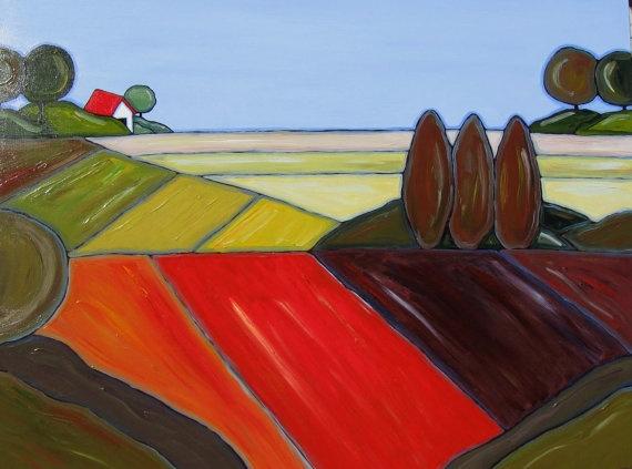 Large Landscape Painting Original acrylic green by BrookeHowie, $800.00: Large Landscape, Landscape Paintings, Originals Acrylics, Children, Paintings Originals, Landscapes, Acrylics Green, Fields, Country