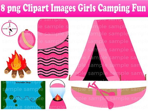 Instant Download 8 PNG Girl Camping Fun Digital Clipart Images Scrapbooking On Etsy 150