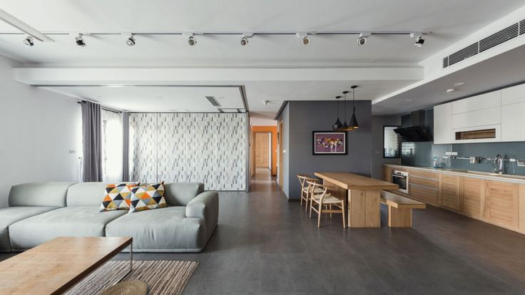 Apartment: Interesting ML Apartment in Hanoi, Vietnam Designed by Le Studio, Open Floor ML Apartment in Hanoi Designed by Le Studio showing Cozy Sofa and Oak Wood Dining Table and Chairs also Wooden Cabinets and Unique Ceiling Lights and Dark Tile Flooring
