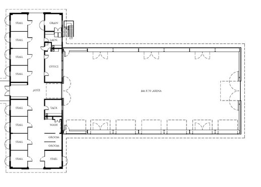 floor plan - 9 stalls, grain, tack, office, grooming and wash stalls, and arena