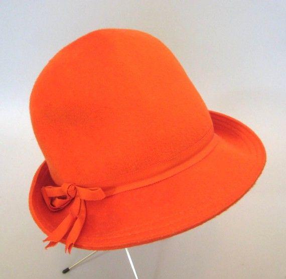SALE Vintage Orange Wool Cloche Hat Union Made