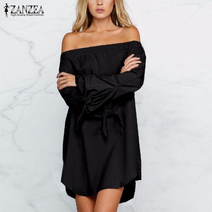 Vestidos 2017秋zanzea女性セクシーなストラップレスのミニdressオフショルダースラッシュネック長袖トップスカジュアル緩い固体dress