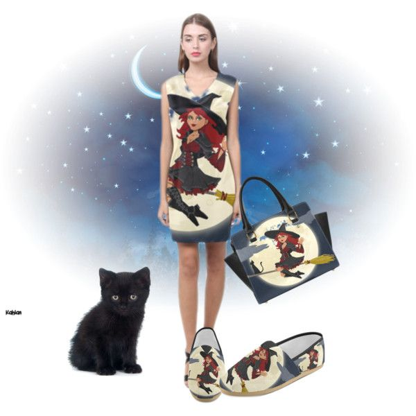 Funny witch and black cat dress, causal shoes, shoulder handbag. FREE shipping. Buy on http://www.artsadd.com/store/funnypictures?rf=27219