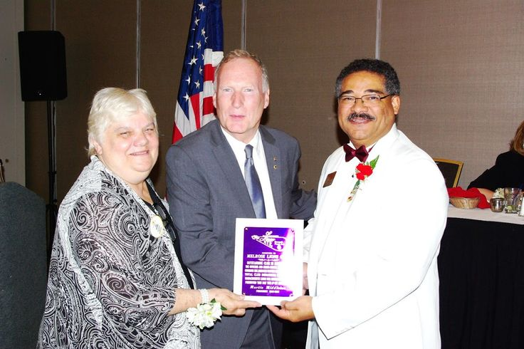 Photo in 2016-08-06 MA Lions Eye Reseach Fund Dist 33N DG Joan Parcewski and Martin Middleton - outgoing president of MLERF - present award to Melrose Lions Club