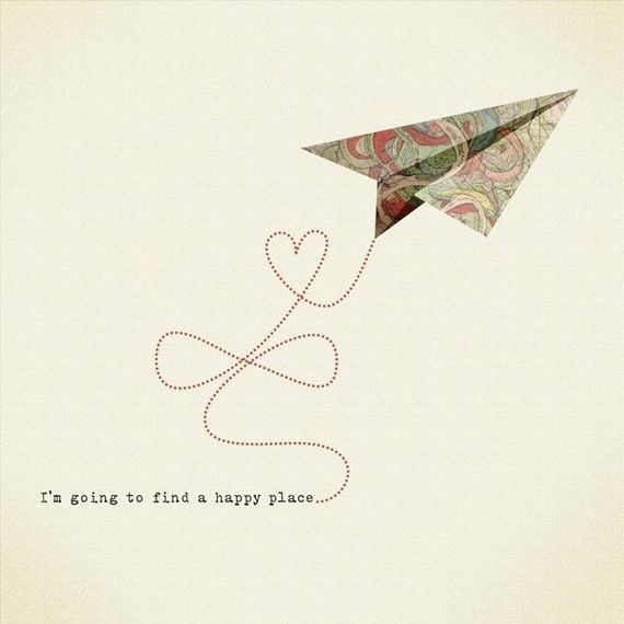 I am going to find a happy place Print 8 x 11.5 - Home Decor digital illustration airplane origami heart fly freedom cream natural