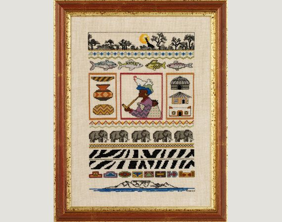 African Sampler - A counted cross stitch design on Etsy, $8.00 AUD