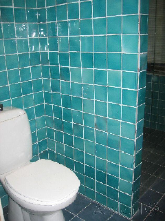 Cementtiles Toilet - Azulejos verde mar MA1024 - Project van Designtegels.nl