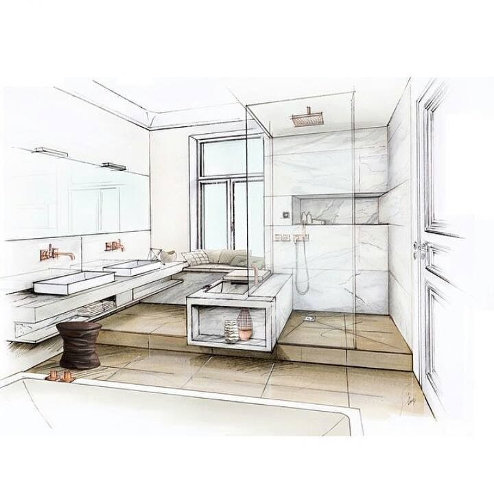 Drawing Method 2 Point Perspective, Presentation Drawing, Interior Of A Bathroom, Student