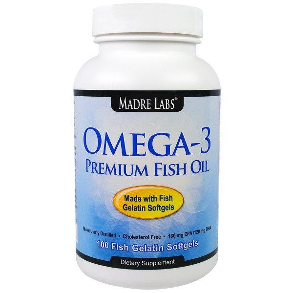 Madre Labs, Omega-3 Premium Fish Oil, 100 Fish Gelatin Softgels www.iherb.com/Madre-Labs-Omega-3-Premium-Fish-Oil-100-Fish-Gelatin-Softgels/62118?rcode=GTW547