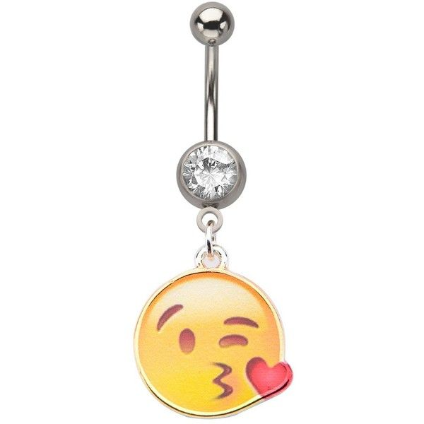 Kissy Face Emoji Belly Ring (€7,35) ❤ liked on Polyvore featuring jewelry, rings, surgical steel belly rings, dangle ring, navel rings, surgical steel rings and belly rings