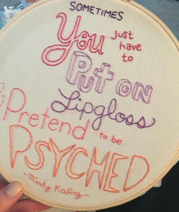 Mindy Kaling Lipgloss Quote Embroidery Hoop Art Made Etsy Embroidery Hoop Art Mindy Kaling Hoop Art