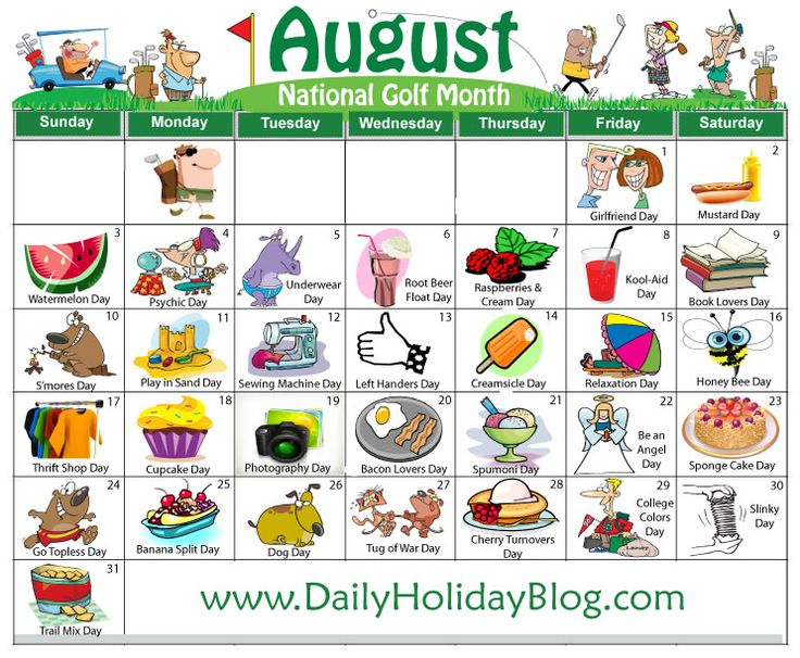 august daily holidays calendar