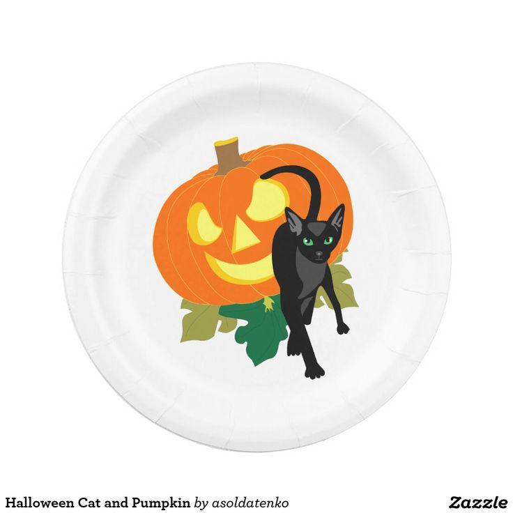 Halloween Cat and Pumpkin 7 Inch Paper Plate