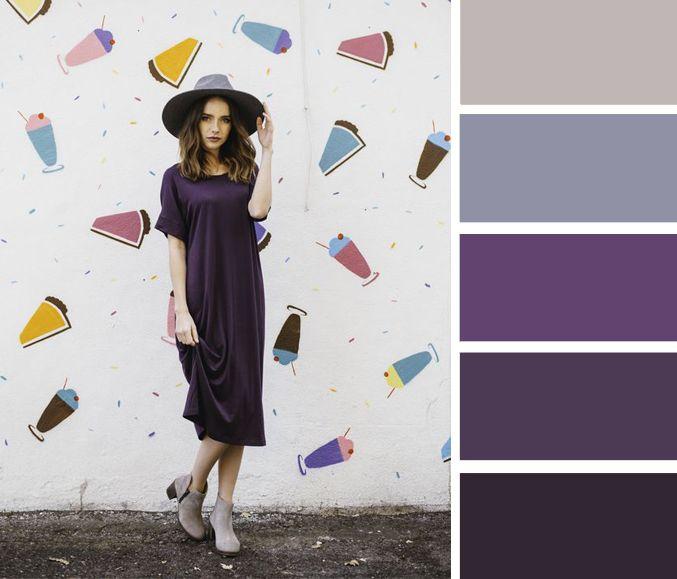 Прекрасный вариант для тех, кто ценит лаконичность и минимализм. В сливовом оттенке любое, даже самое простое платье смотрится «сложнее» и изысканнее, чем оно есть на самом деле, поэтому, дополнив прямое миди платье полусапожками и шляпкой, вы получите на выходе эффектный городской образ.